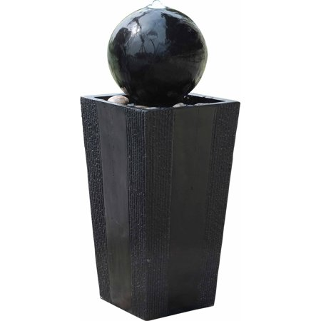 Alpine Corporation Modern Sphere and Pedestal Outdoor Fountain with LED Light