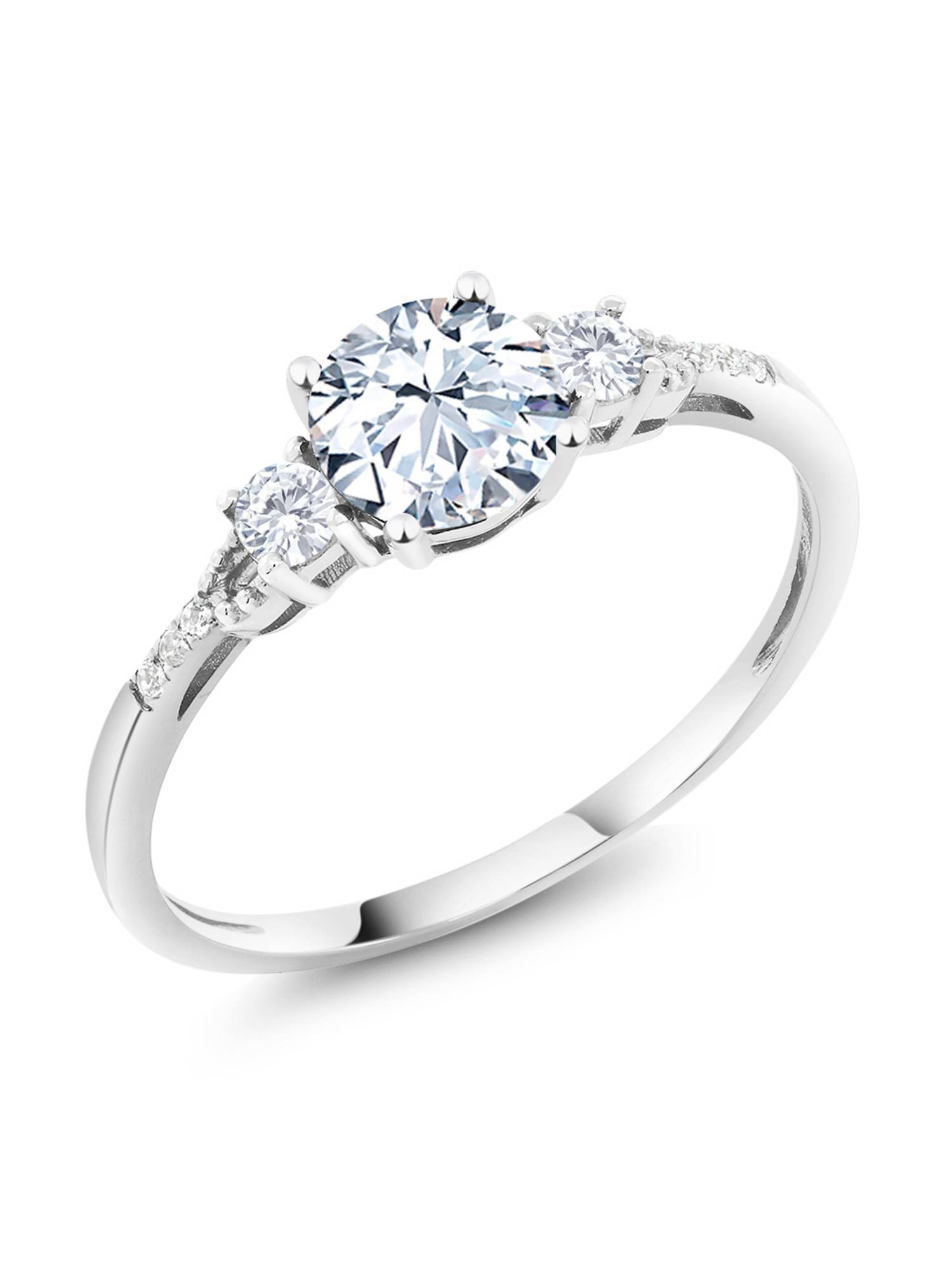 Diamond Accent 10K White Gold Round Hearts and Arrows White Created Sapphire Ring 1.35 cttw by