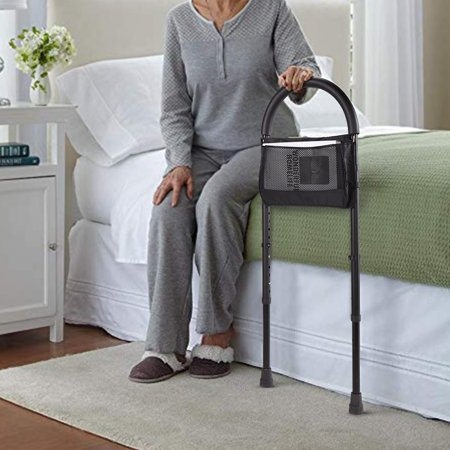 Jaxpety Tool-Free Medical Bed Assist Bar with Storage Bag Height Adjustable Bed Rail For Seniors
