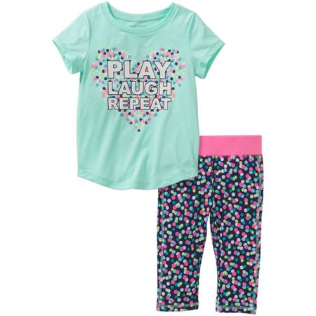 Healthtex Toddler Girl Short Sleeve Tee and Legging Activewear Set