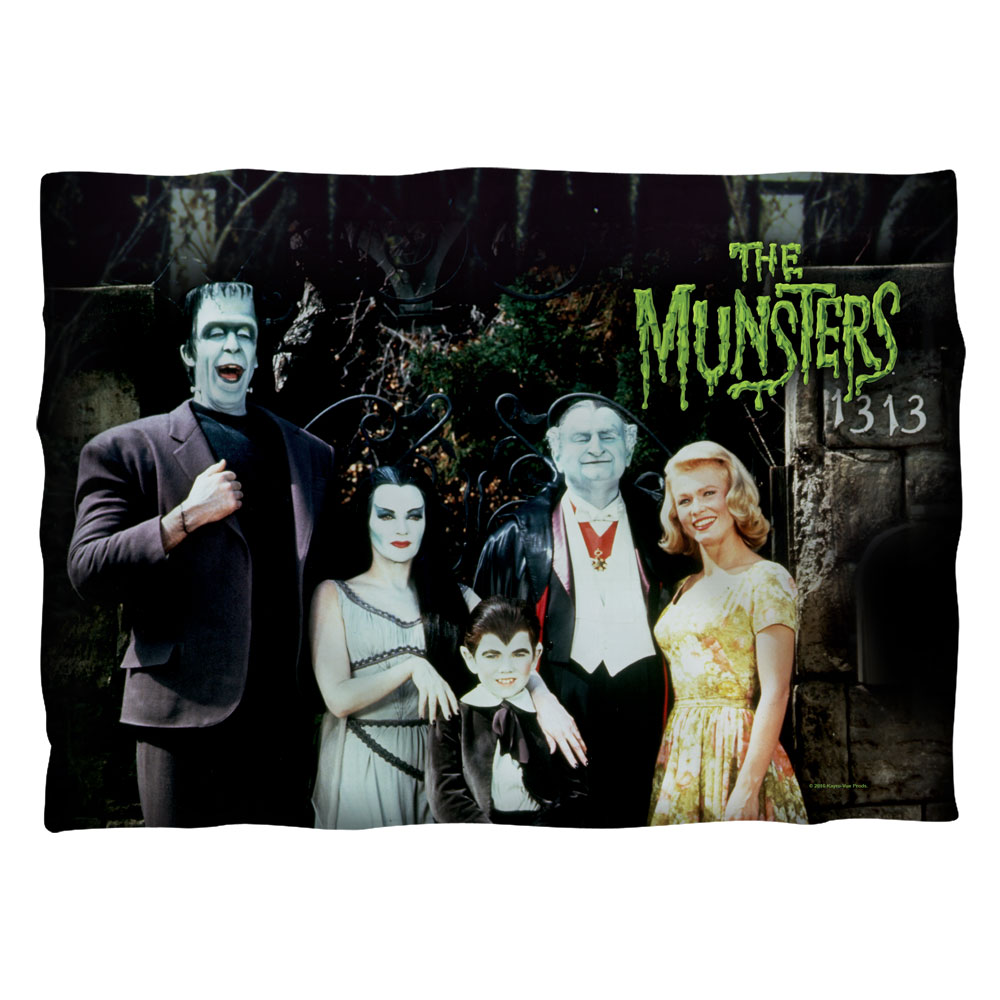 Munsters Family (Front Back Print) Pillow Case White One Size