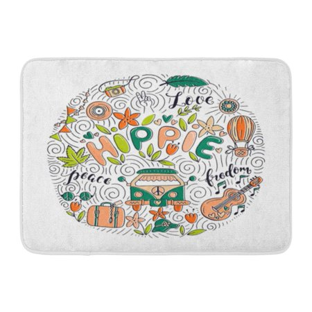Mini Bath Mat (GODPOK Camera Colorful Doodle of Objects and Symbols with Lettering This and Bags Stationary As Mini Rug Doormat Bath Mat 23.6x15.7 inch)