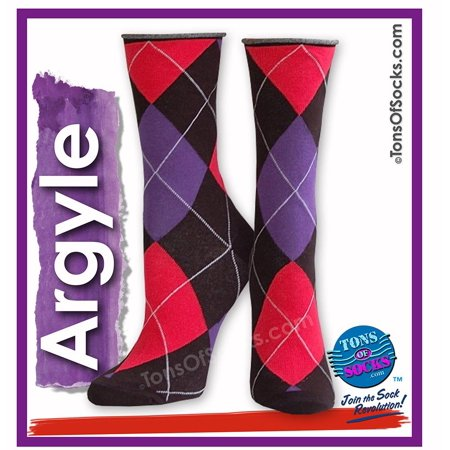 Women's Roll-Top Argyle Socks (Red, Purple, Black) (FINAL