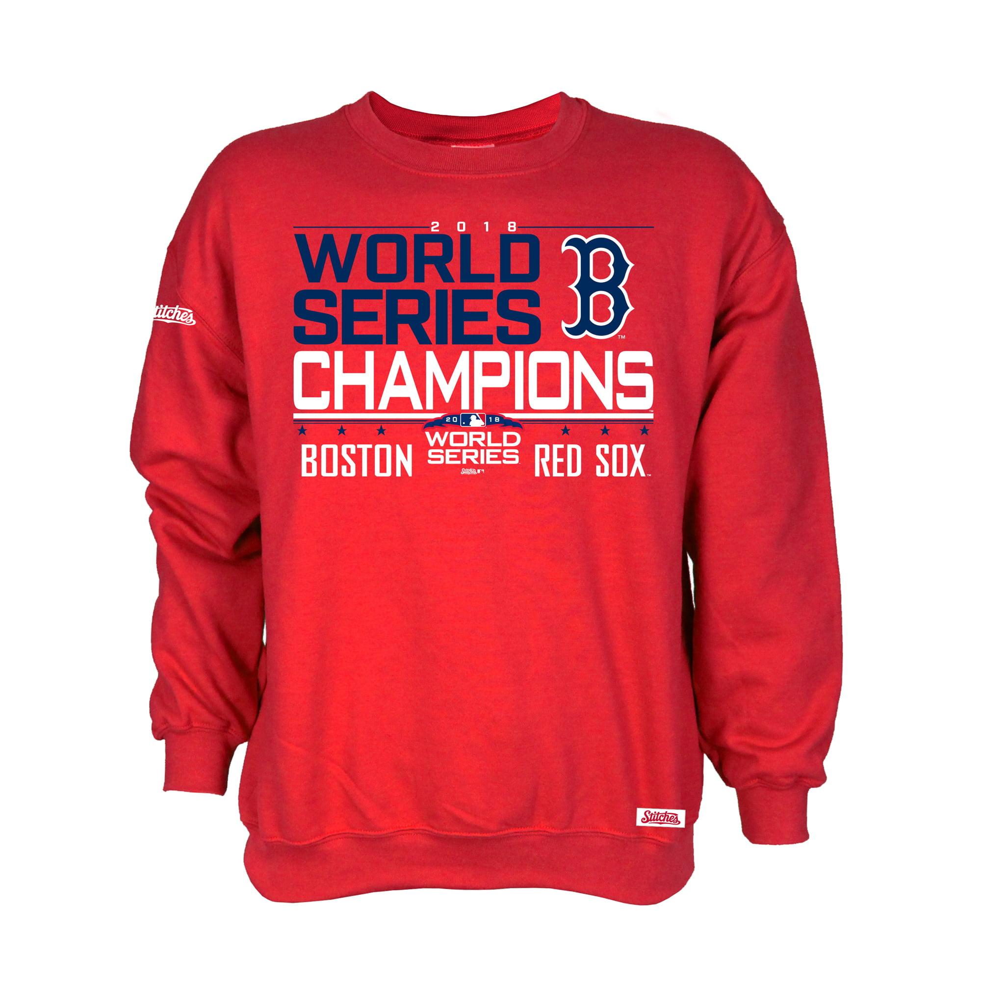 Boston Red Sox Stitches 2018 World Series Champions Pullover Crewneck Sweatshirt - Red