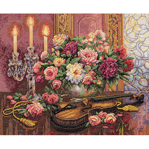 """Dimensions Gold Collection """"Romantic Floral"""" Counted Cross Stitch Kit, 16"""" x 13"""" Half Cross Stitch Used"""