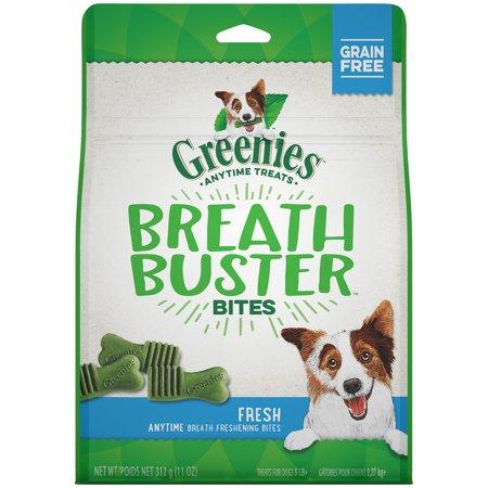 GREENIES BREATH BUSTER BITES Treats for Dogs Fresh Flavor 11 oz. Bag Coat Dog Treats