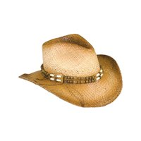 New 2-Tone Woven Cowboy Cowgirl Hat with Beaded Band