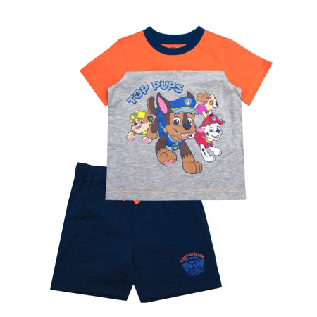 Paw Patrol Short Sleeve Top Pups Character Tee and French Terry Shorts Set, 2-Piece Outfit Set (Little Boys) (Little Boy Ring Bearer Outfits)