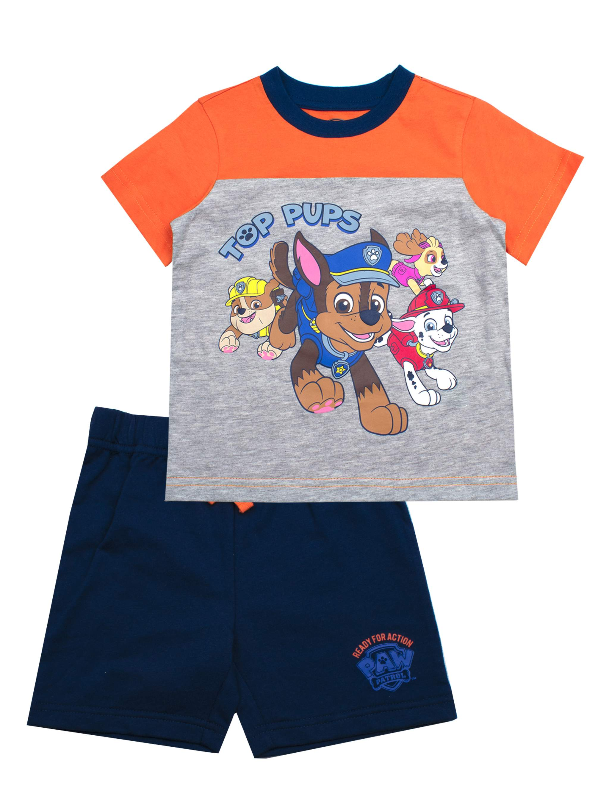 Short Sleeve Top Pups Character Tee and French Terry Shorts Set, 2-Piece Outfit Set (Little Boys)