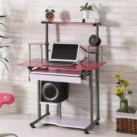 Hodedah Tempered Glass Computer Desk in Pink - image 3 de 6