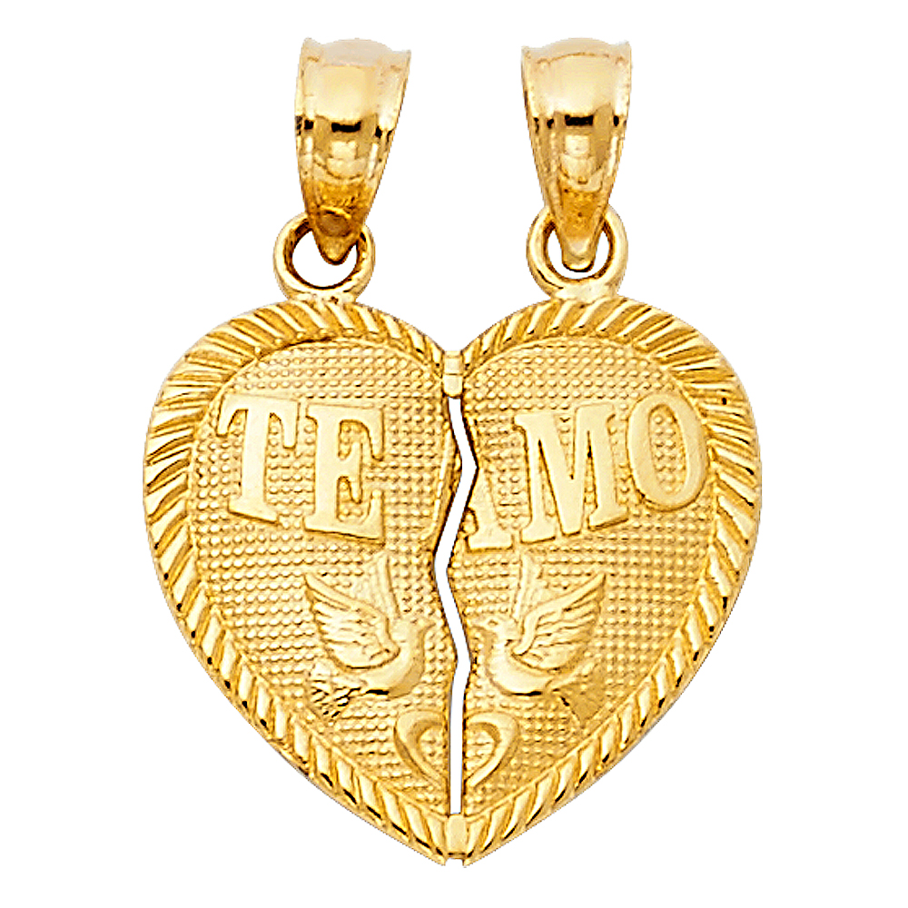 14K Yellow Gold Te Amo Heart 2 Piece Charm Pendant with 2mm Figaro 3+1 Chain Necklace