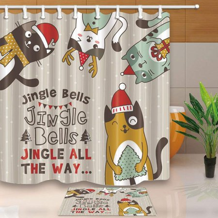 WOPOP Christmas Bath Curtain for Bathroom Cartoon Cat with Xmas Hat for New Year Shower Curtain