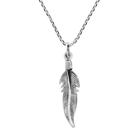 Mini Tribal Feather .925 Sterling Silver Chain Necklace ()