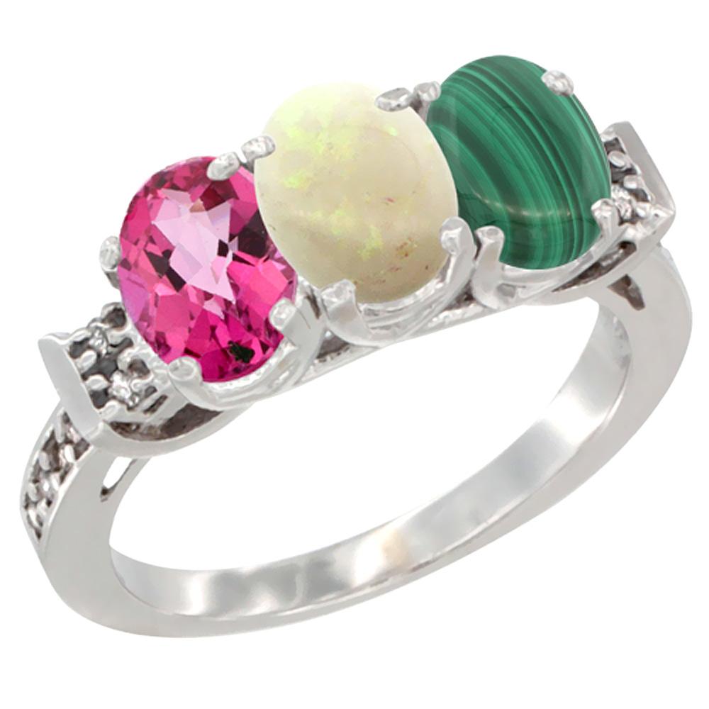10K White Gold Natural Pink Topaz, Opal & Malachite Ring 3-Stone Oval 7x5 mm Diamond Accent, sizes 5 10 by WorldJewels
