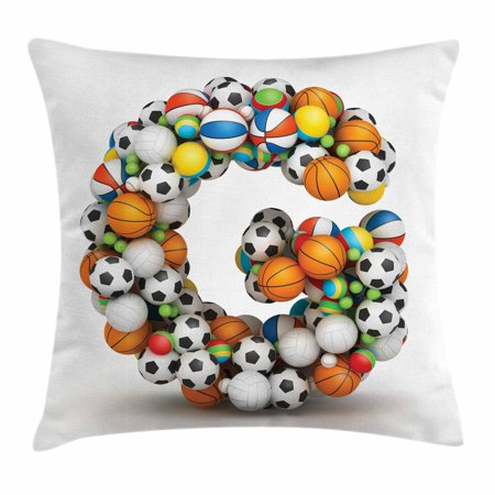 Letter G Throw Pillow Cushion Cover, Athletic Theme Concept Youthful Teenager Boys Girls Activity Font for Sports Fans, Decorative Square Accent Pillow Case, 18 X 18 Inches, Multicolor, by - Sports Theme