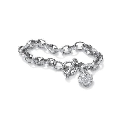 Palm Beach Jewelry Diamond Accent Heart Charm Bracelet