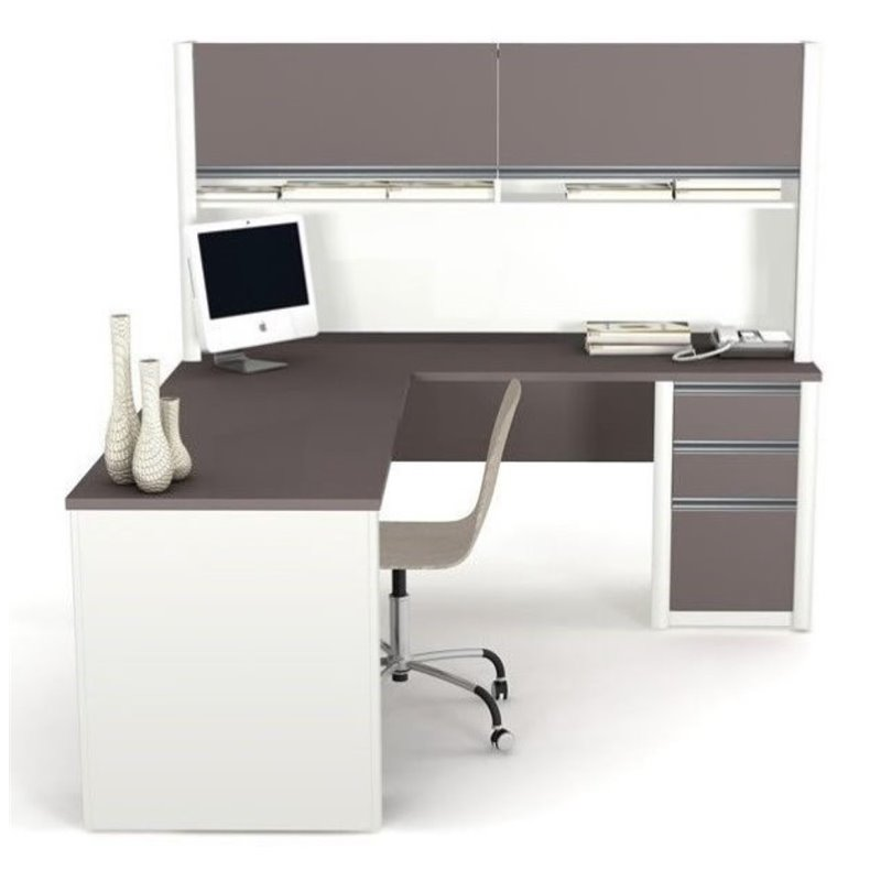 Bowery Hill L-Shaped Computer Desk with Hutch in Sandstone and Slate