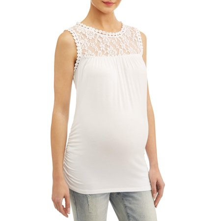 Liz Lange MaternityMaternity short sleeve top with lace yoke & sleeves