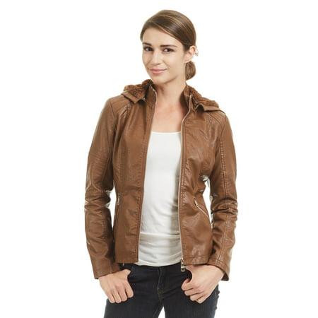- WJC1423 Womens Faux Leather Inner Fleece Hoodie Jacket L CAMEL