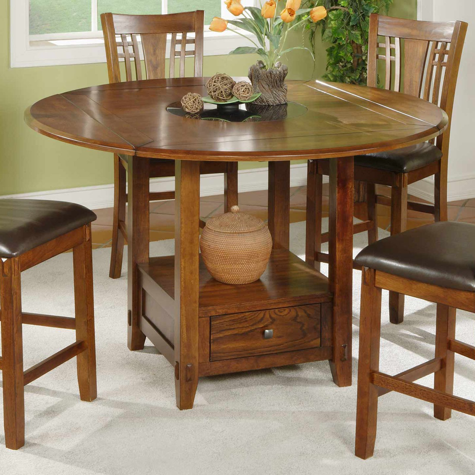 Incroyable Winners Only Zahara Round Counter Height Dining Table With Granite Lazy  Susan   Walmart.com