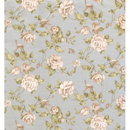 FLORAL - Flower Colorful Beige, Blue Wallpaper Roll - image 1 of 1