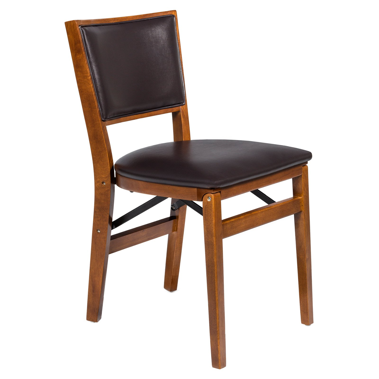 Bonded Leather Retro Upholstered back folding chair - Brown