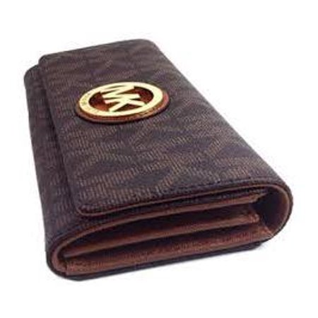 3527df5ade21da Michael Kors - Michael Kors Signature PVC Fulton Flap Wallet - Brown -  Walmart.com