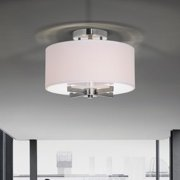 The Lighting Store Federica Satin Nickel Flush Mount Chandelier with Fabric Drum Shade