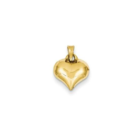 14K Yellow Gold Puffed Heart Charm 15mm x 11mm