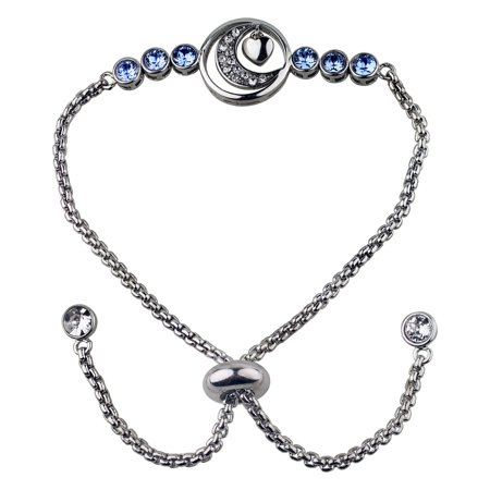 Sterling Silver Plate Moon Heart & Blue Crystal Adjustable Bracelet W/ Clear Crystal End