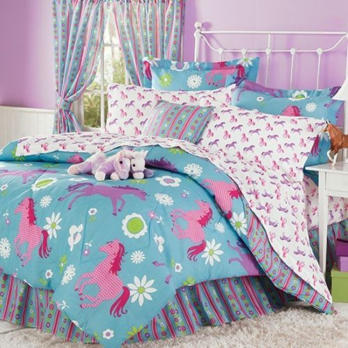 CountryLiving Purple, Blue & Pink Pony Horse Kids Queen C...
