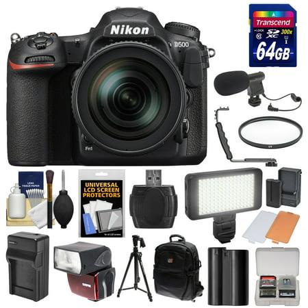 Nikon D500 Wi-Fi 4K Digital SLR Camera & 16-80mm VR Lens with 64GB Card + Backpack + Flash + LED Light + Mic + Battery & Charger + Tripod + Kit