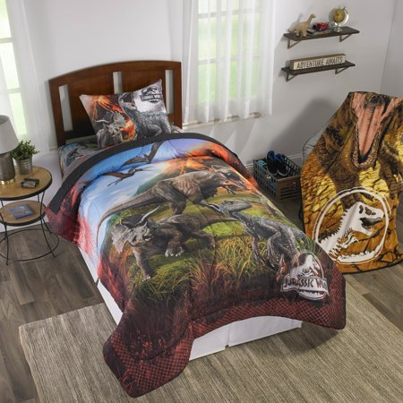Jurassic World Kids Bedding, Bed in a Bag Set, Eruption