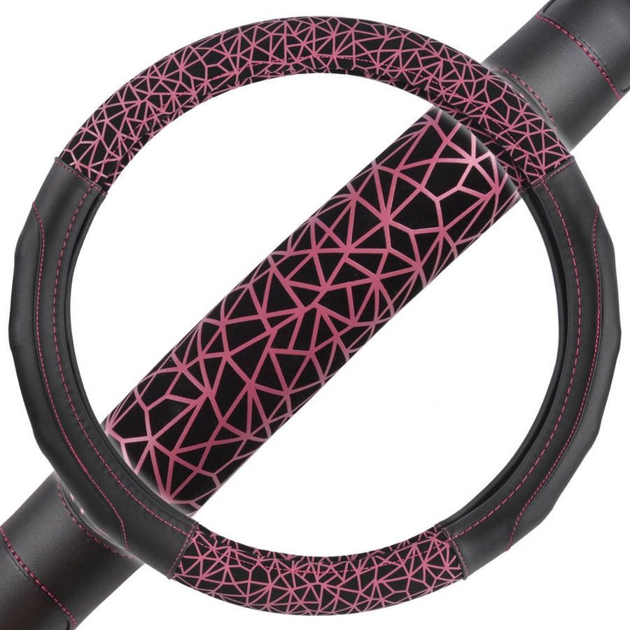 "New GripDrive Web Synthetic Leather Car Steering Wheel Cover Black with Pink Graffiti Lines, Comfort Grip, Standard, 14.5""-15.5"""