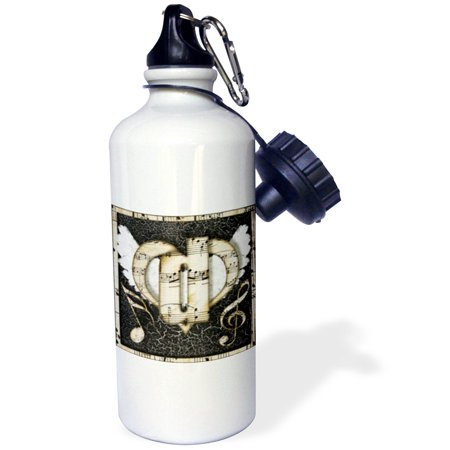 3dRose Song Angel Initial Letter D, Sports Water Bottle, 21oz
