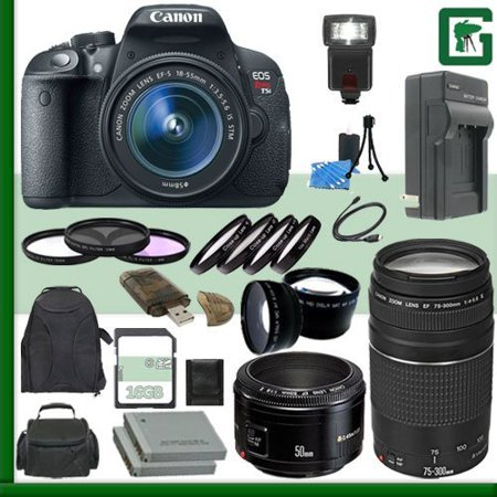 Canon EOS Rebel T5i Digital SLR Camera Kit with 18-55mm STM Lens and Canon EF 75-300mm III Lens and Canon 50mm f/1.8 Lens + 16GB Green's Camera Package (Digital Camera Canon Rebel T5i)