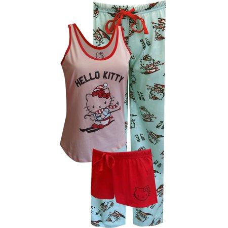 Hello Kitty Hits The Slopes 3 Piece Pajama Set