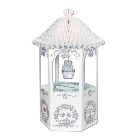 Wishing Well For Wedding (Pack of 6 White Wishing Well with Tissue Top Decorations)