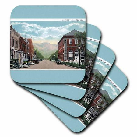 Casters Antique - 3dRose Park Street Livingston Montana Street Scene with Antique Cars, Soft Coasters, set of 4