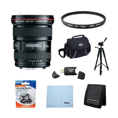 Canon EF 17-40mm f/4L USM Ultra Wide Angle Zoom Lens for Canon SLR Cameras w/ 77mm Multicoated UV Protective Filter, Deluxe Bag, Lens Cap Keeper, Memory Card Wallet, USB 2.0