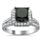 Noori Collection Noori 18k White Gold 2.85ct TDW Certified Princess Cut Black and White Diamond Ring