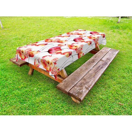 Watercolor Flower Outdoor Tablecloth, Shaded Large Poppy and Tulip Flower Painting Spring Blooms Season, Decorative Washable Fabric Picnic Table Cloth, 58 X 84 Inches,Red White Orange, by Ambesonne ()