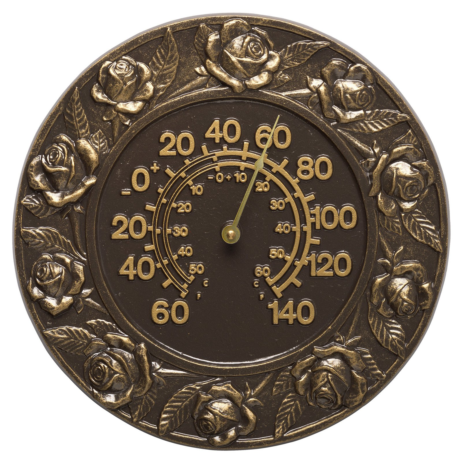 Whitehall Products Rose 12-in. Indoor/Outdoor Wall Thermometer