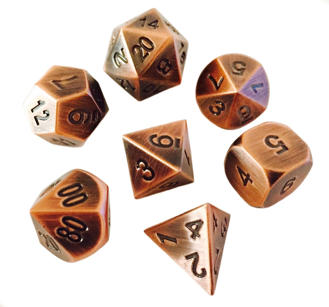 SkullSplitter Dice- Antique Brass Finish Metal Set of 7 Polyhedral Dice (7 Die in Pack)- Role Playing Game Dice (RPG)- D4, D6, D8, D10, D%, D12, and D20