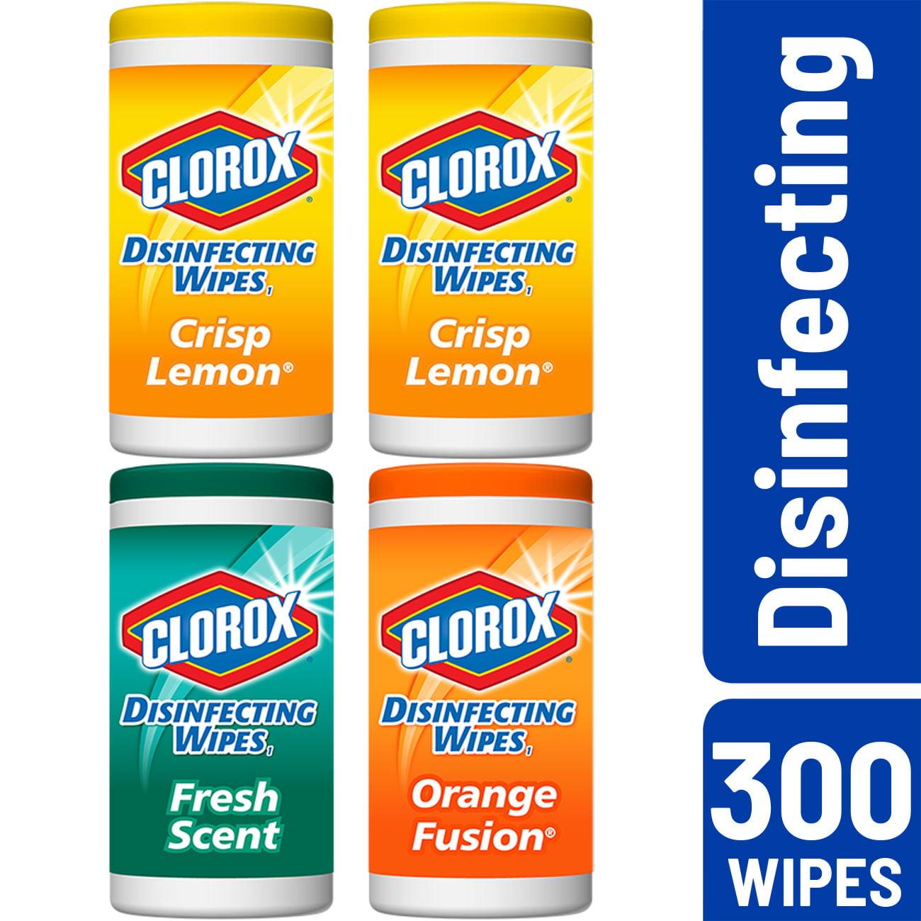 Clorox Disinfecting Wipes, Value Pack, Crisp Lemon, Fresh Scent and Orange Fusion, 75 Wipes, 4 ct