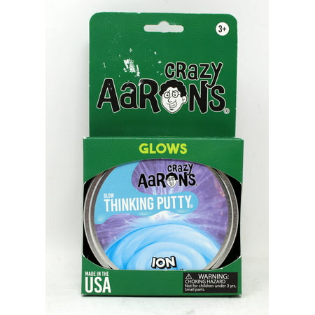 Crazy Aarons Thinking Putty 4u0022 Tin - Ion - Glow-in-The-Dark Putty, Firm Texture - Non-Toxic, Never Dries Out