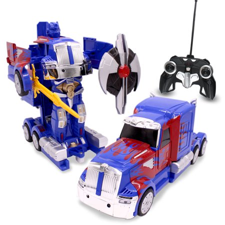 Kids RC Toy Transforming Robot Remote Control Dance Mode Truck 1/14 Scale Toys with Sword Shield Tools For Boys (Blue)](Remote Control Robots For Kids)