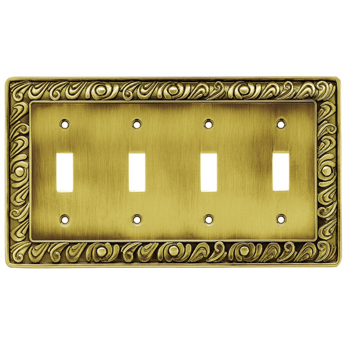 Brainerd Paisley Quad-Switch Wall Plate, Available in Multiple Colors