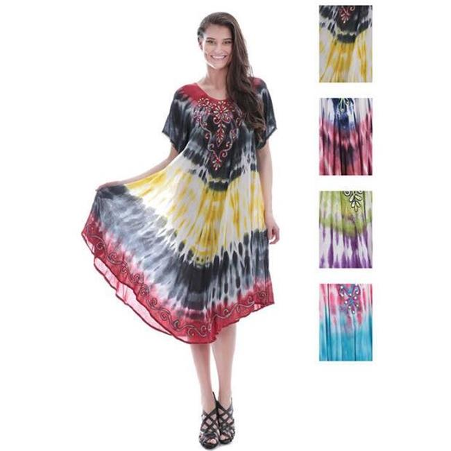 DDI 1944915 Indian Tie Dye Short Sleeve Dress with Sequin...