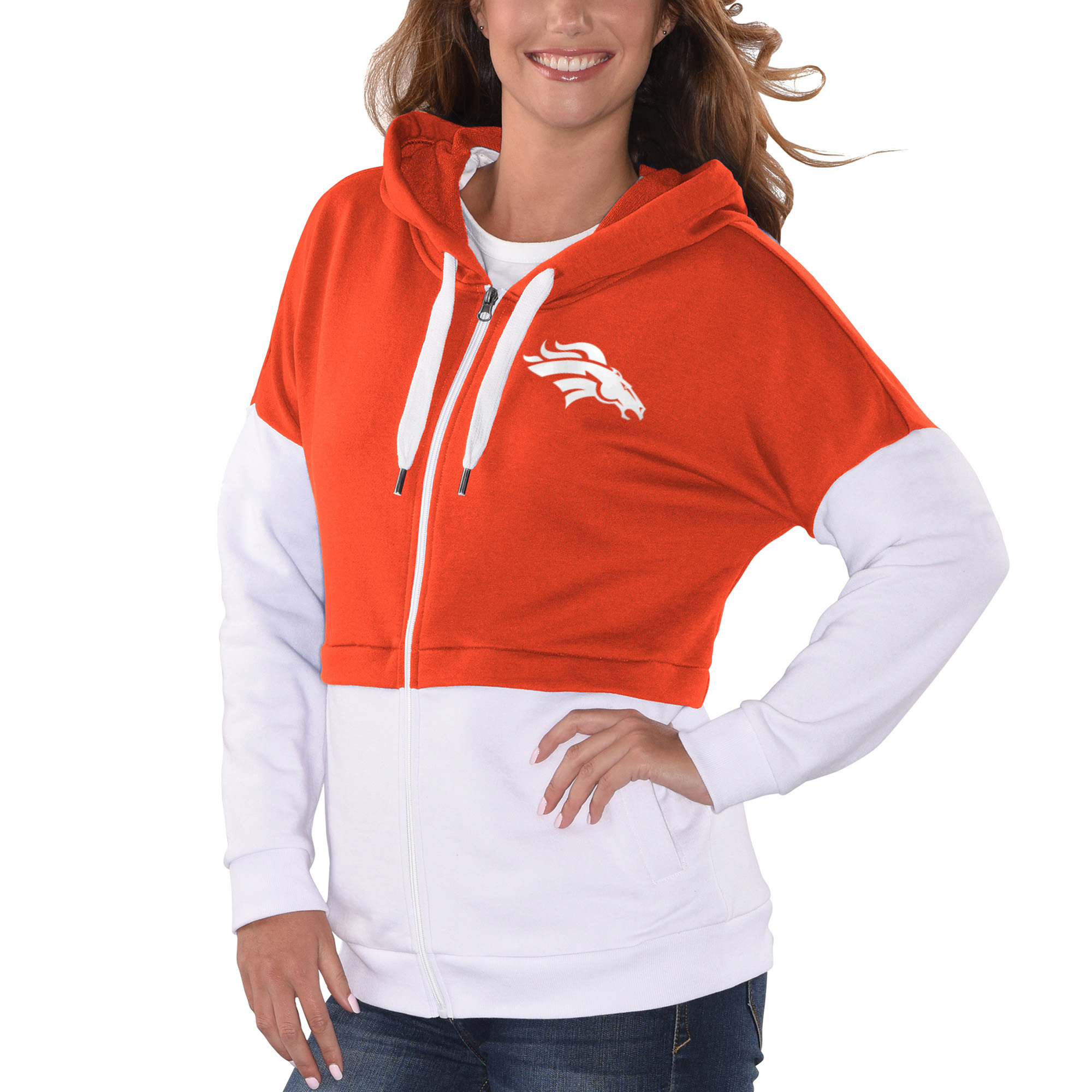 Denver Broncos G-III 4Her by Carl Banks Women's Game Changer Full-Zip Hoodie - Orange/White